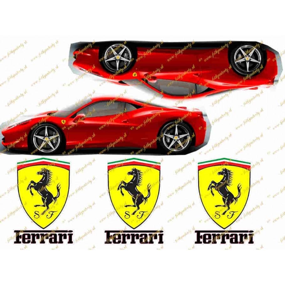 Jedlý obrázok na vystrihnutie - autá a logá Ferrari