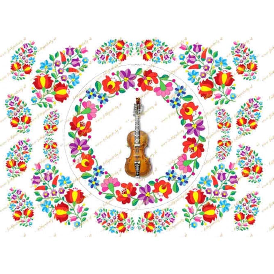 Farebný folklórny vzor s husličkami, priemer 15cm + dekorácie na vystrihnutie