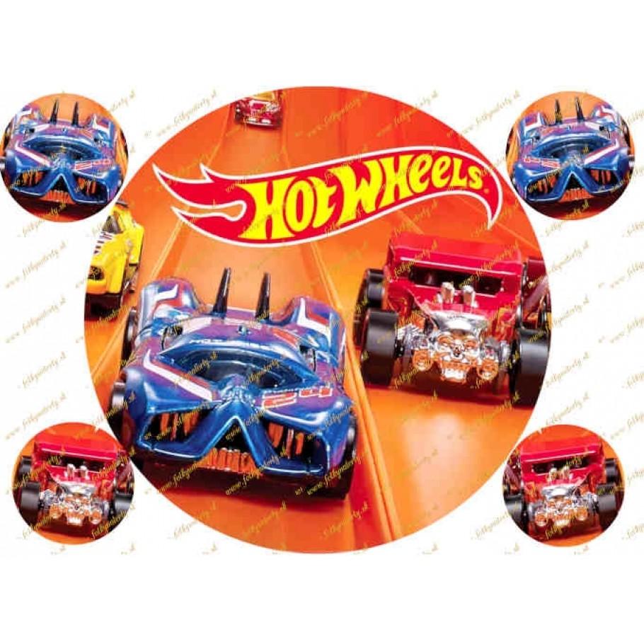 Okrúhly jedlý obrázok na tortu - Hotwheels