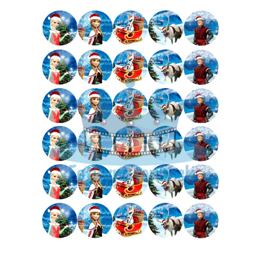 Vianočné dekorácie Frozen -30ks- jedlé dekorácie a  oblátky na muffiny, medovníčky a iné dobrôtky / jedlá oblátka / jedlý obrázok / na tortu / Fotky na torty