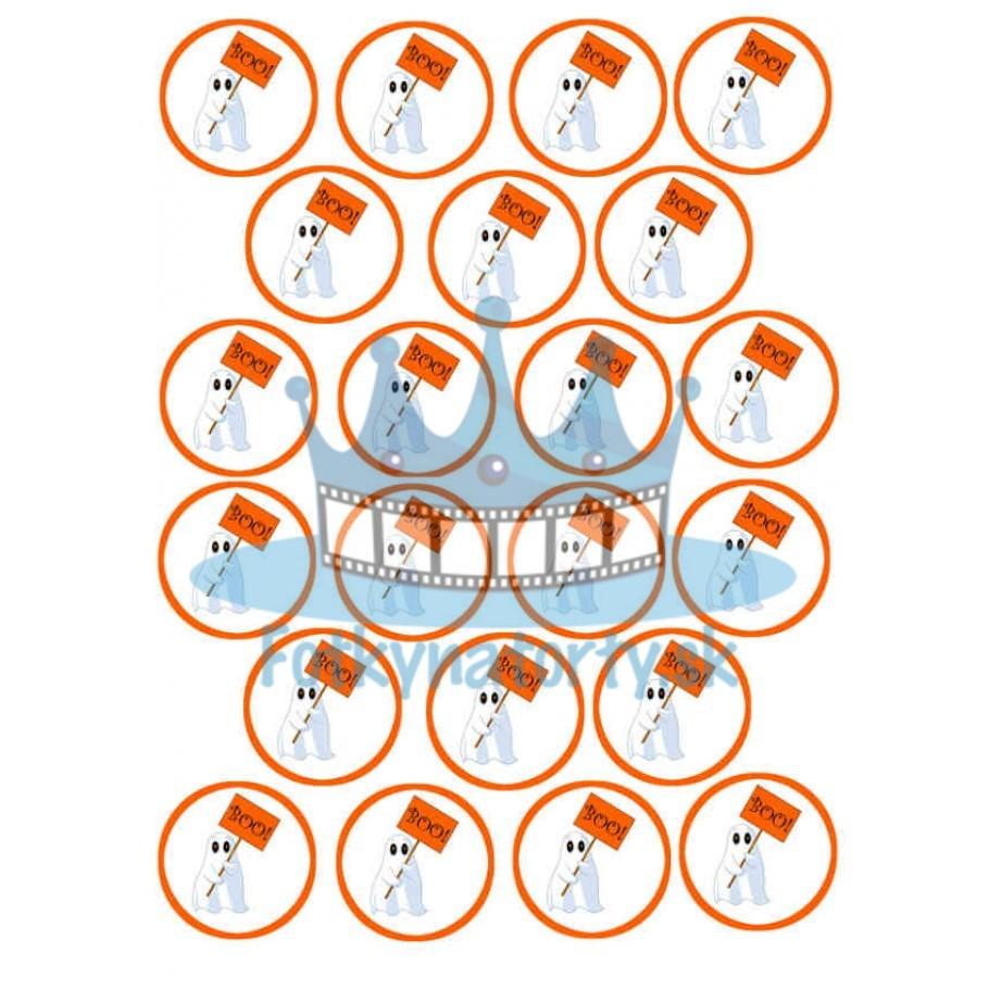 Halloween - dekorácie na muffiny - 22 ks - jedlé obrázky na cupcakes