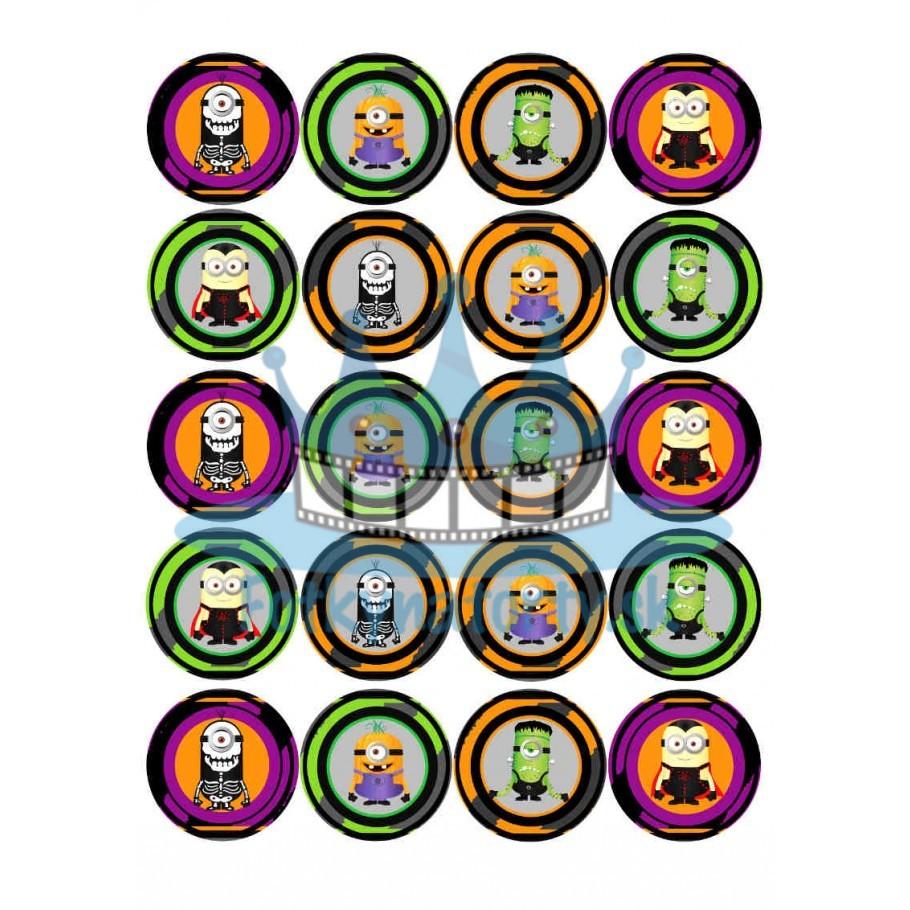Mimoni / Minions Halloween na muffiny- 20 ks - jedlé dekorácie na zákusky a iné dobrôtky / na tortu / jedlé tortové obrázky / dekorácie na pečenie/ Fotky na torty