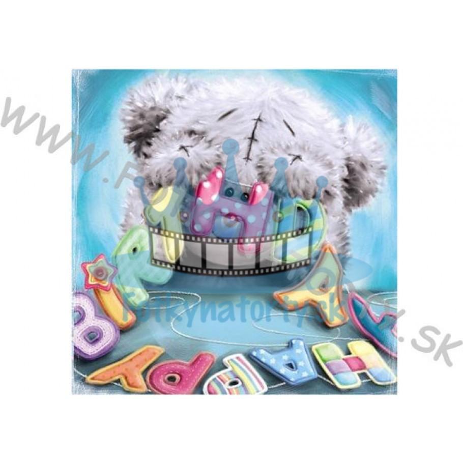 HAPPY BIRTHDAY MEDVEDÍK- jedlý obrázok / oblátka na tortu / fotky na torty