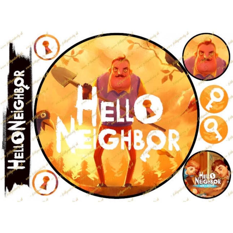 NOVINKA ! Jedlý obrázok na tortu Hello Neighbor