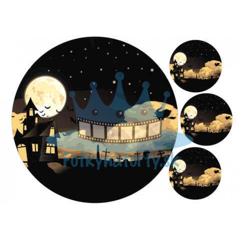 Halloween - Strašidelný dom -  jedlý obrázok / oblátka na tortu