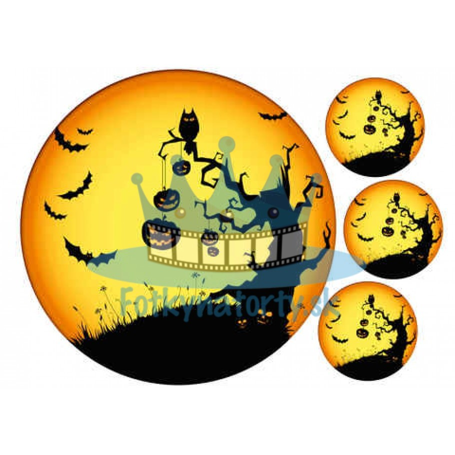 Halloween - Strašidelný strom -  jedlý obrázok / oblátka na tortu