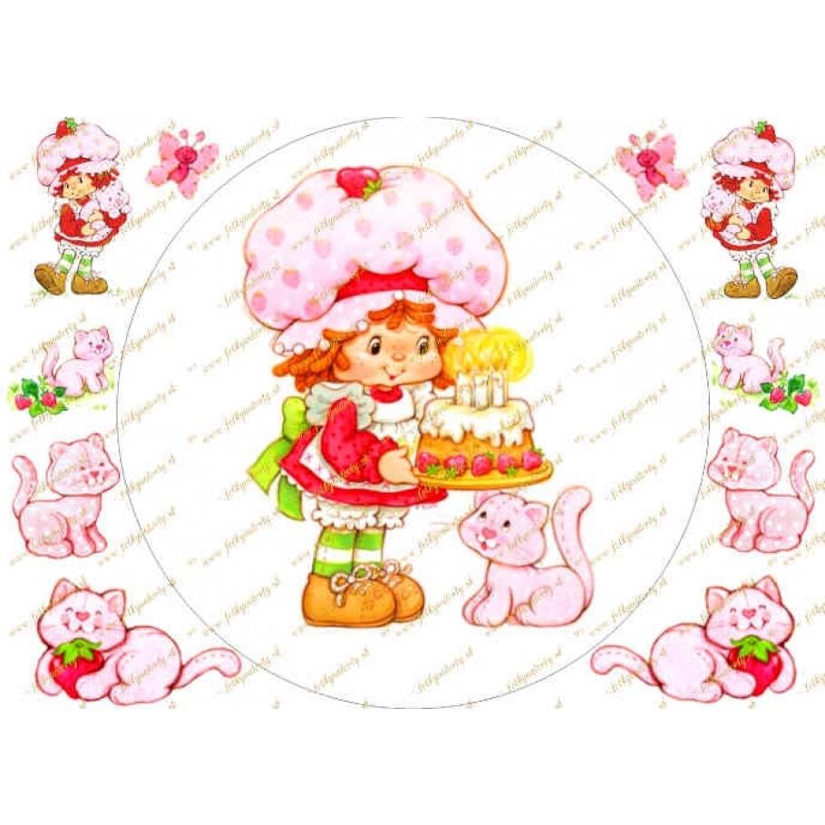 Jedlý obrázok Jahôdka Strawberry na tortu (kruh s dekoráciami na vystrihnutie)