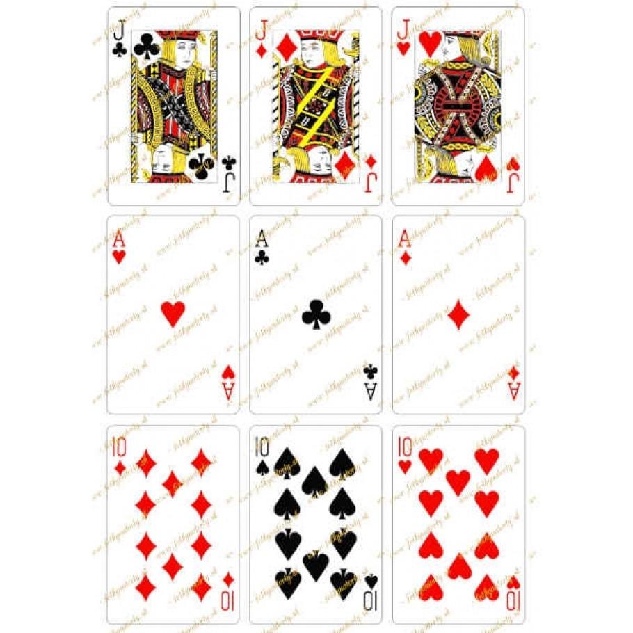 Jedlý obrázok - karty J A 10 na vystrihnutie