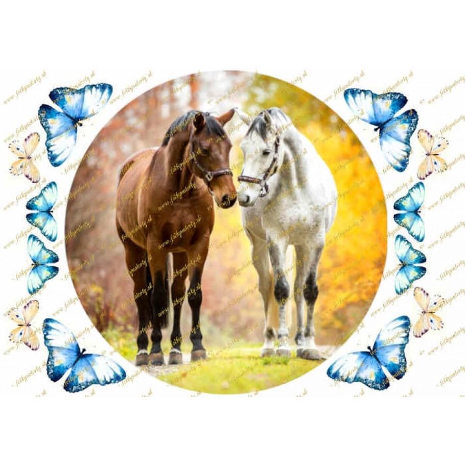 Nádherný okrúhly jedlý obrázok na tortu  - kone s dekoráciami