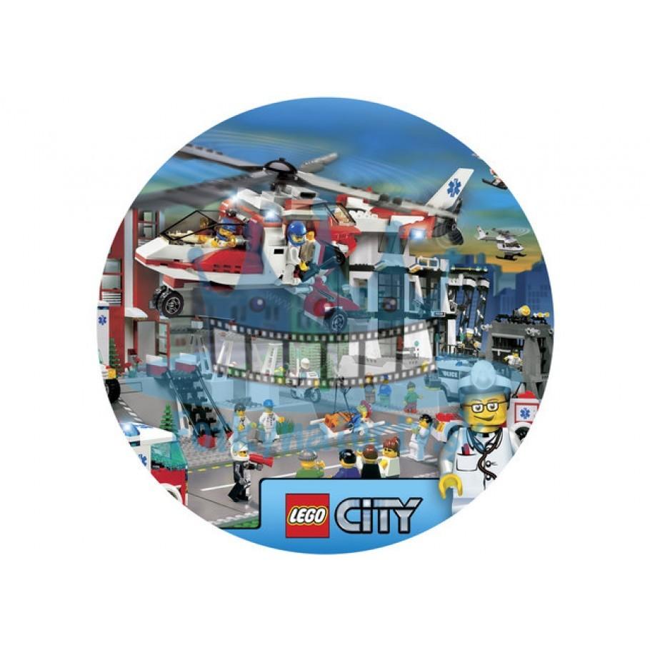 Lego City Zdravotníci KRUH - jedlý obrázok / oblátka na tortu / Fotky na torty