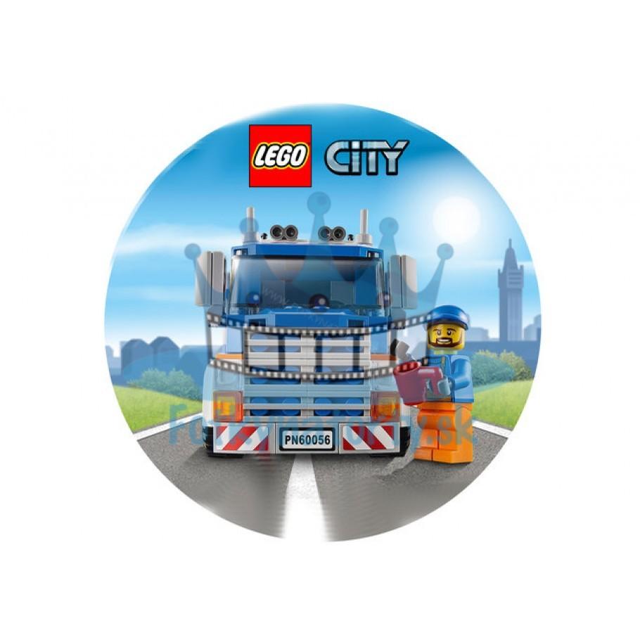 Lego City Nákladné auto KRUH - jedlý obrázok / oblátka na tortu / Fotky na Torty