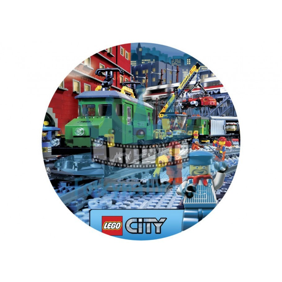 Lego City Vlaková Stanica KRUH - jedlý obrázok / oblátka na tortu / Fotky na torty