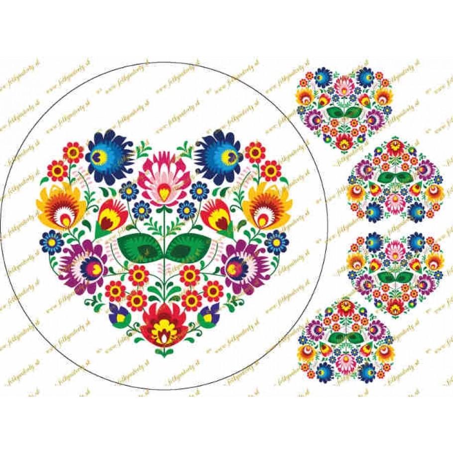 Folklórny motív - srdce na bielom podklade s dekoráciami ľudový motív