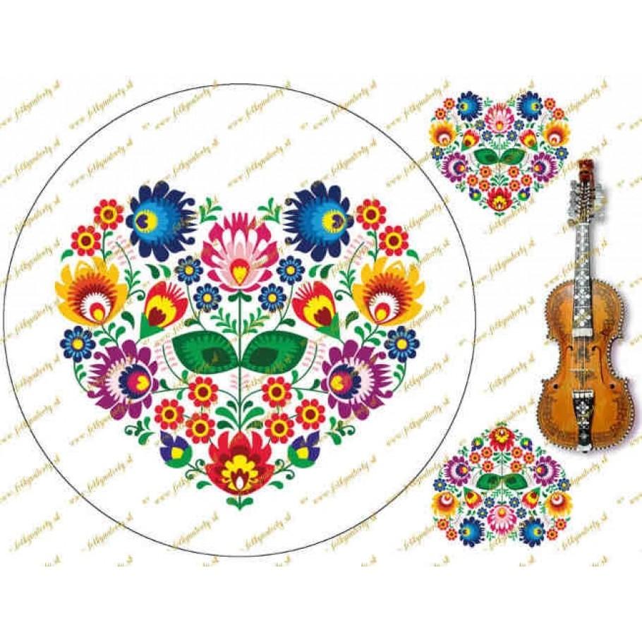 Folklórny motív - srdce na bielom podklade s dekoráciami a husličkami