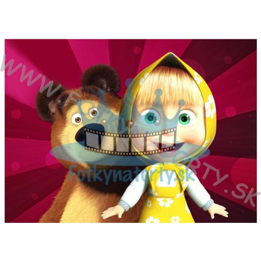 Máša a medveď II. OBDĹŽNIK - jedlý obrázok/ oblátka na tortu / Fotky na Torty