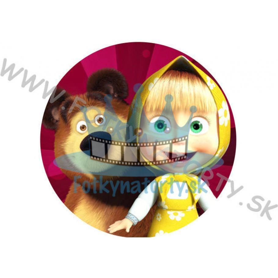 Máša a medveď okrúhly  jedlý obrázok/ oblátka na tortu / Fotky na Torty