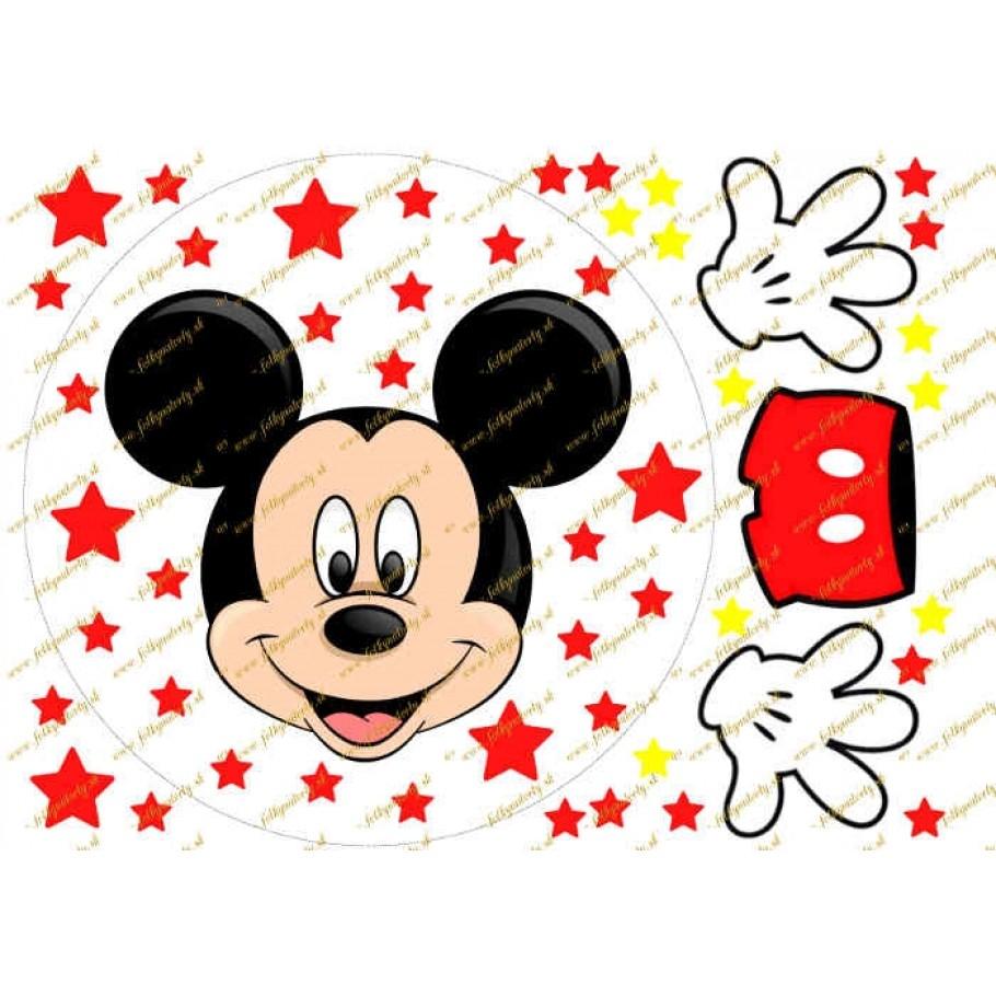 Mickey okrúhly jedlý obrázok  s množstvom dekorácií