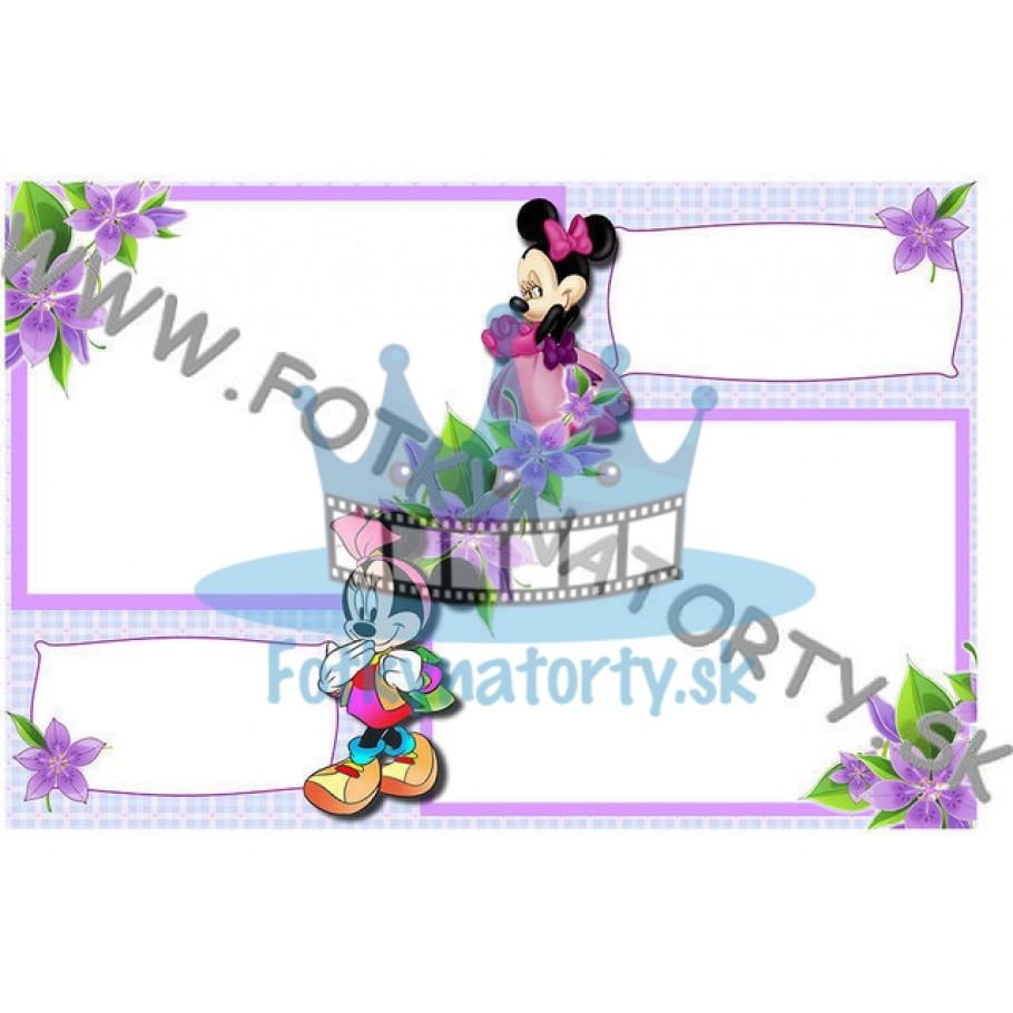 Minnie 2x fotorámik 2x text - jedlý obrázok/ oblátka na tortu / Fotky na torty