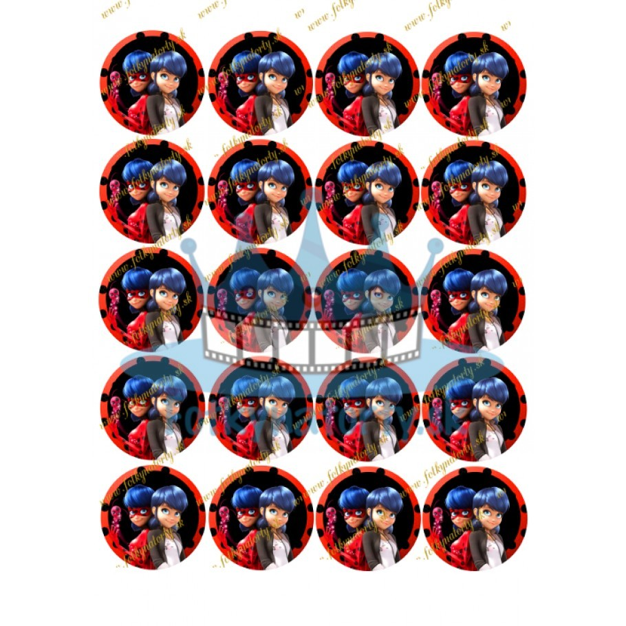 MIRACULOUS - Kúzelná Lienka na muffiny -20ks- jedlé okrúhle obrázky na zákusky, mafiny a iné dobroty / Fotky na torty / jedlý obrázok