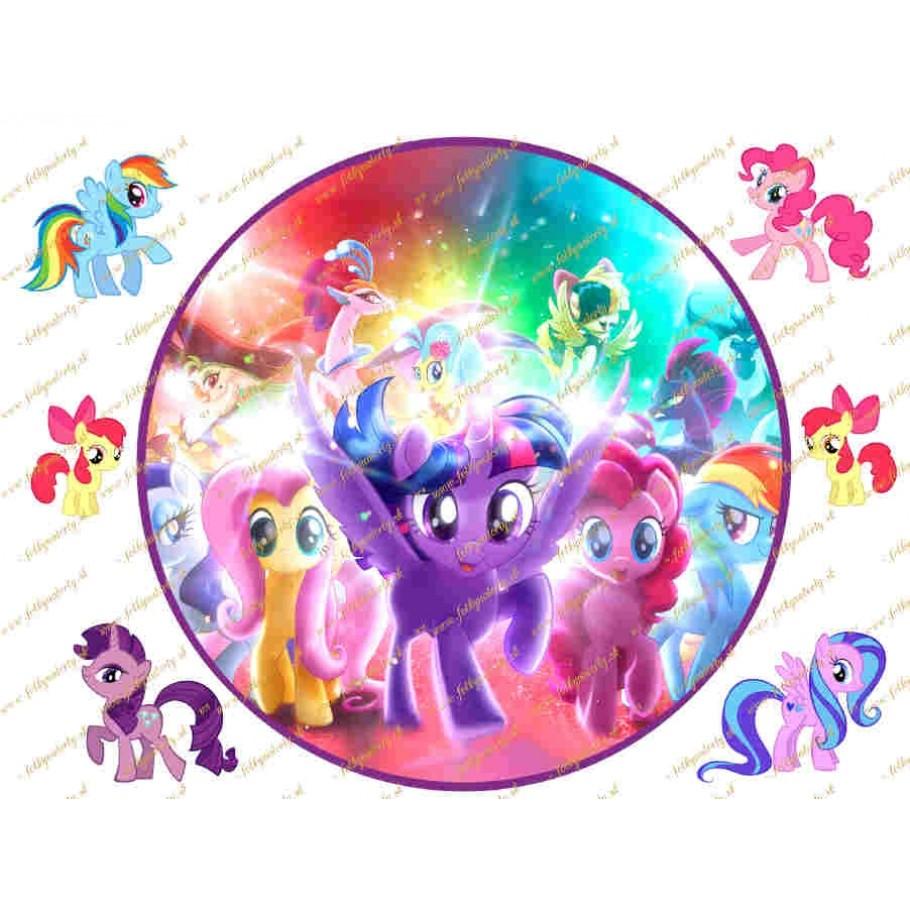 Okrúhly jedlý obrázok na tortu My Little Pony