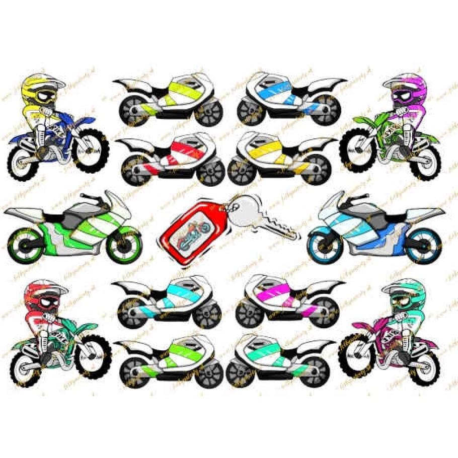 Jedlé motorky na vystrihovanie