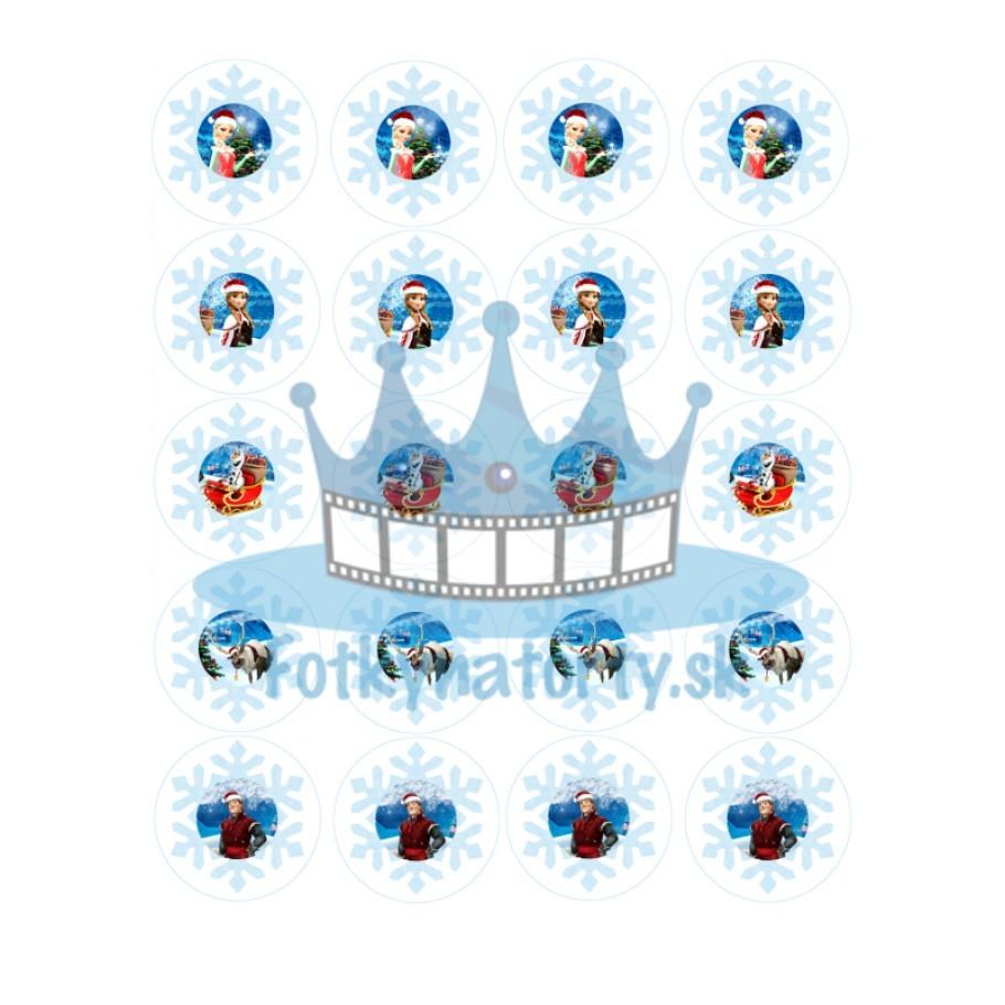 FROZEN - Vianočné dekorácie/ jedlé obrázky a oblátky v snehovej vločke - 20ks-