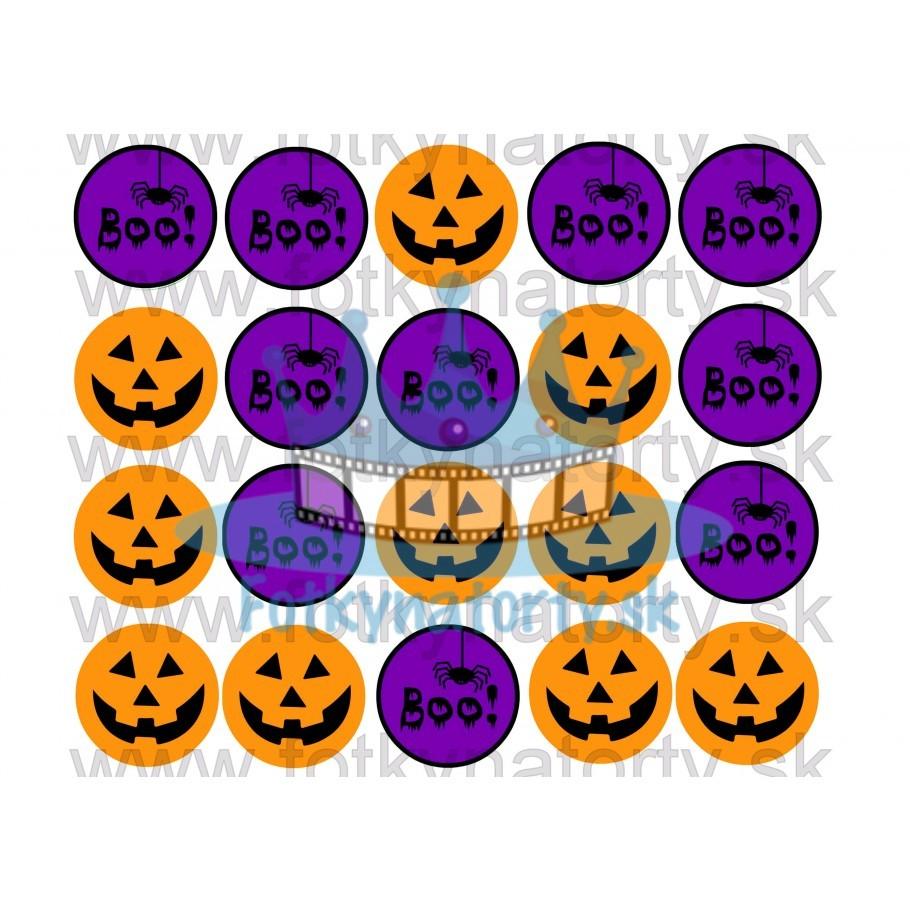 Halloweenske dekorácie na muffiny - 20 ks - jedlé dekorácie na zákusky, medovníčky a iné dobrôtky / na tortu / jedlé tortové obrázky / dekorácie na pečenie/ Fotky na torty