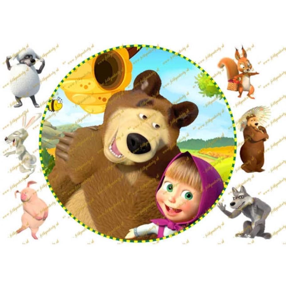 Máša a medveď okrúhly jedlý obrázok na tortu
