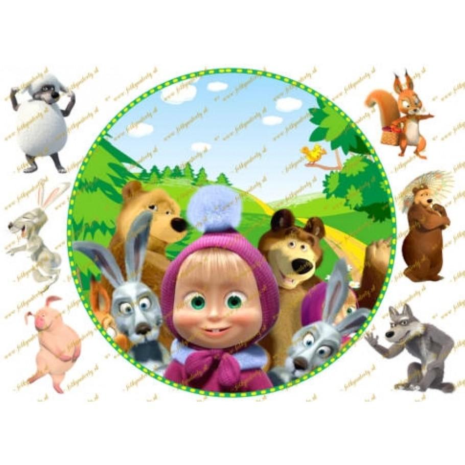 Máša a medveď okrúhly jedlý obrázok viac postáv
