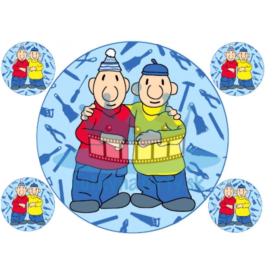 Pat a Mat - okrúhly jedlý obrázok / oblátka na tortu / Fotky na torty / jedlé obrázky