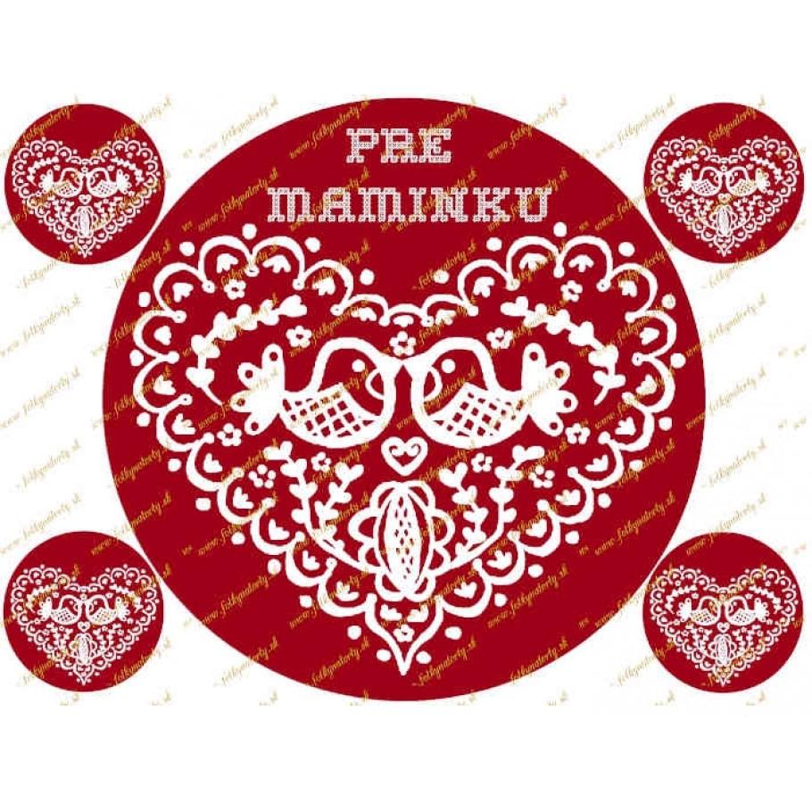 Folklórne červené srdce pre maminku - jedlý obrázok na tortu - kruh