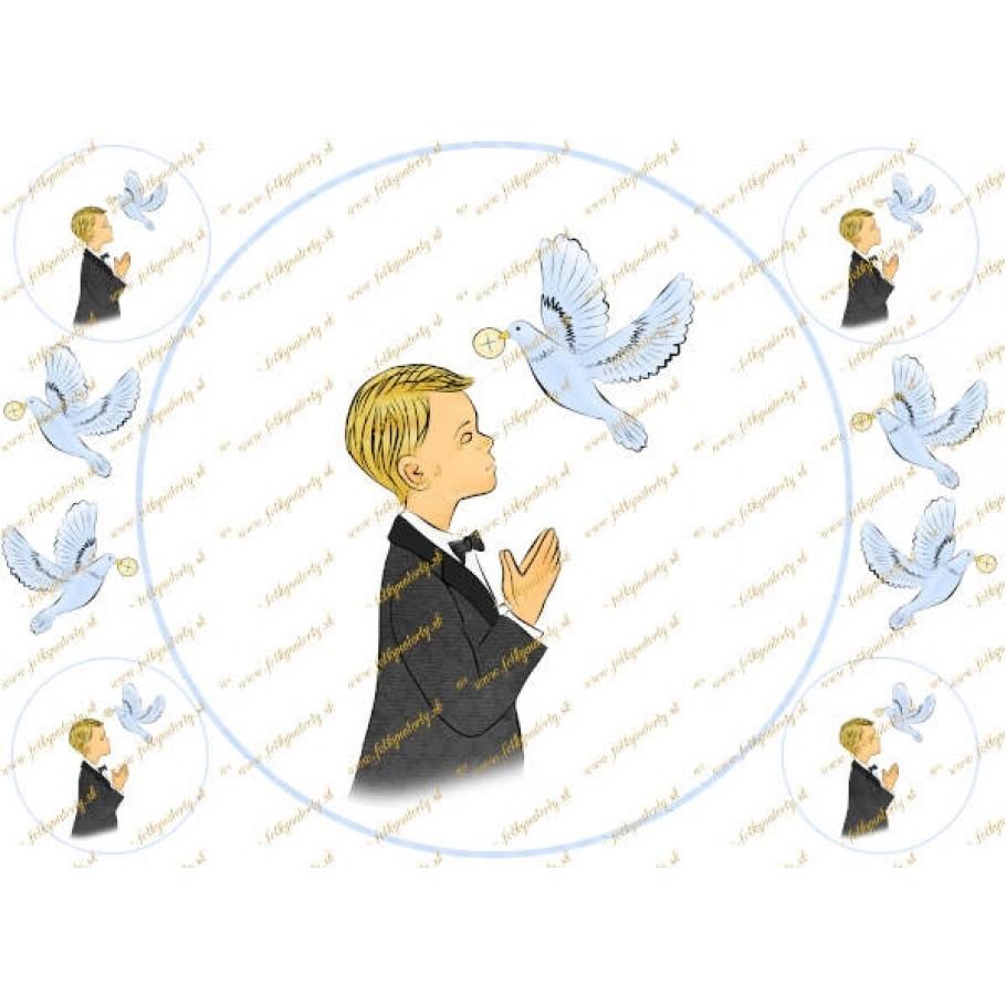 Prvé sväté prijímanie  - jedlý obrázok/ oblátka na tortu - pre chlapca - kruh