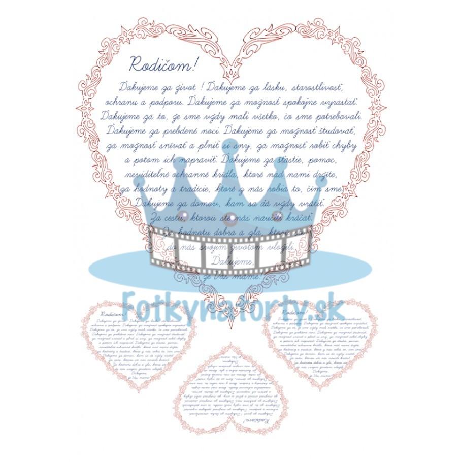 Srdce rodičom - jedlý obrázok na tortu, zákusky a mafiny/ na tortu / na muffiny / Fotky na torty / jedlé obrázky / jedlá tlač