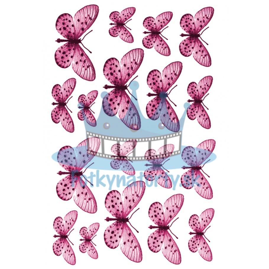 Jedlé obrázky motýle ružové - dekorácie na muffiny, na tortu, zákusky- 18 ks