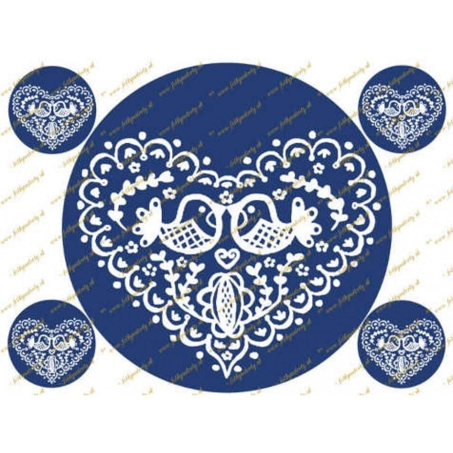 Folklórne modré srdce - jedlý obrázok na tortu - kruh