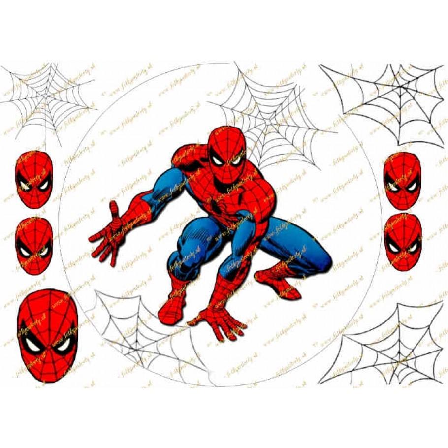 Spiderman na tortu s dekoráciami na vystrihnutie