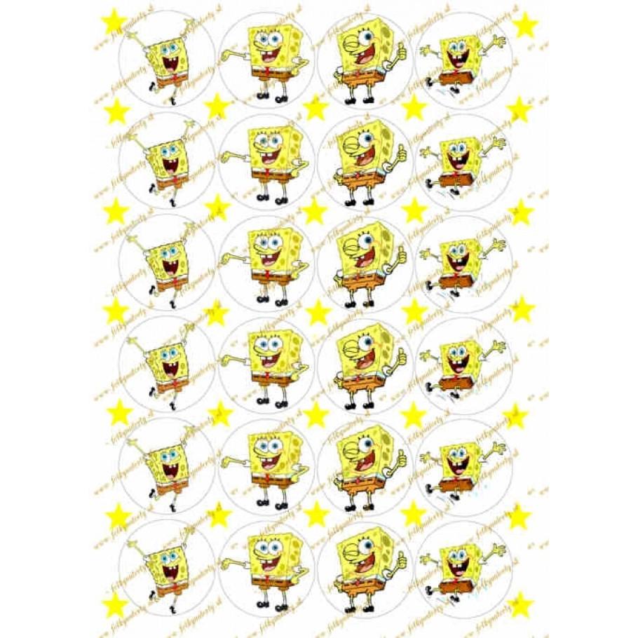 Jedlé obrázky na cupcakes s motímvom Sponge bob 24 ks, priemer kruhov cca 4,5 c