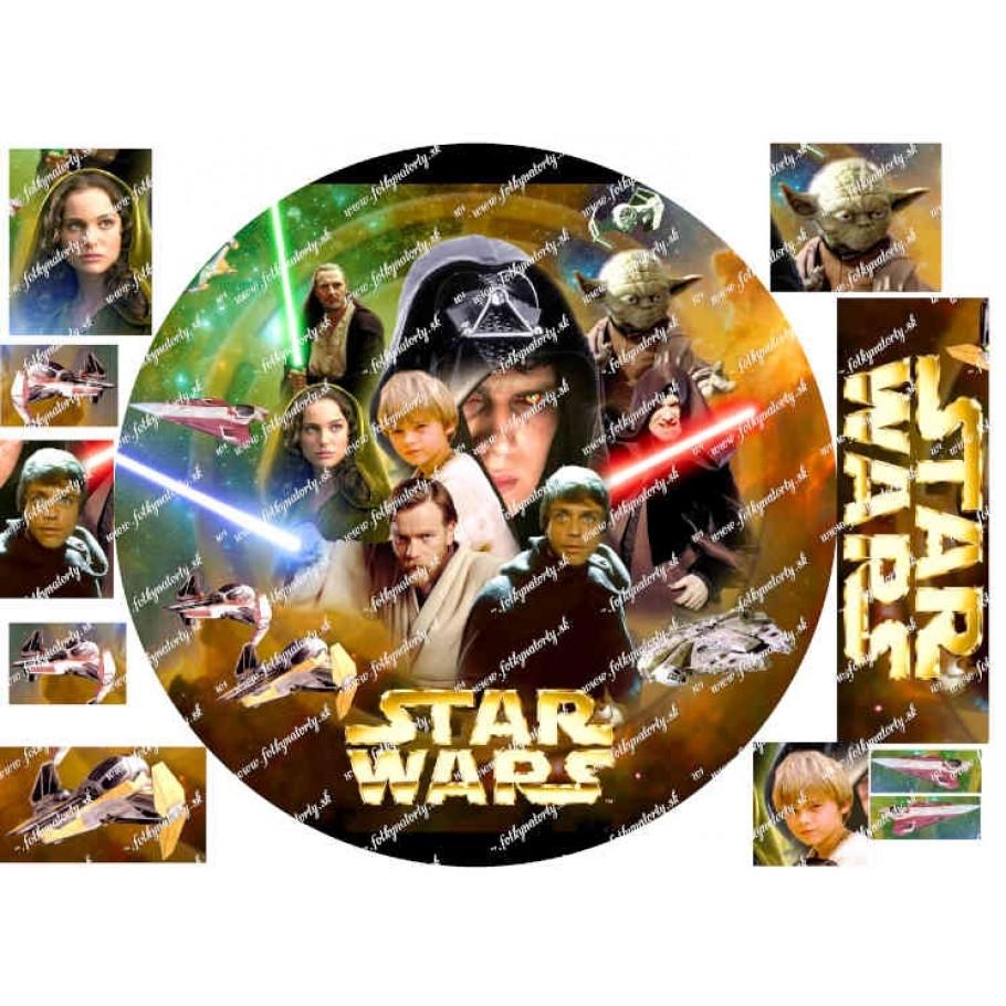 Okrúhly jedlý obrázok na tortu Star wars