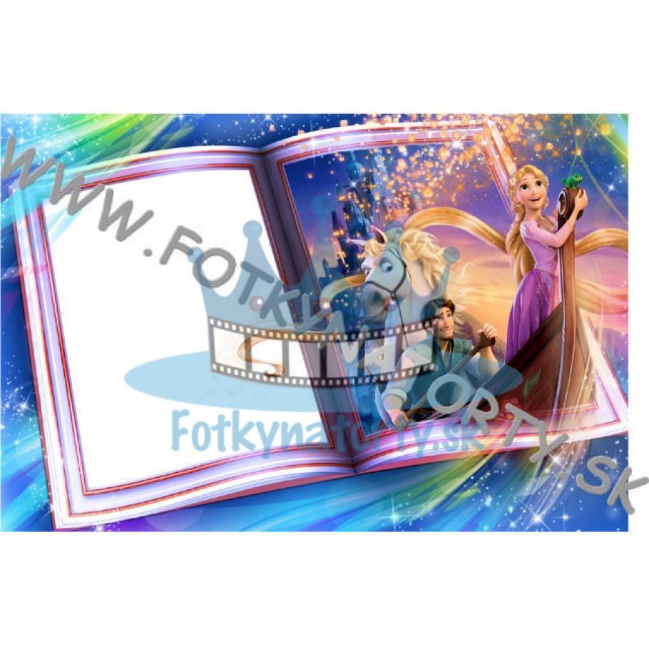 Na vlásku Rapunzel Fotorámik v knihe - jedlý obrázok/ oblátka na tortu / Fotky na Torty