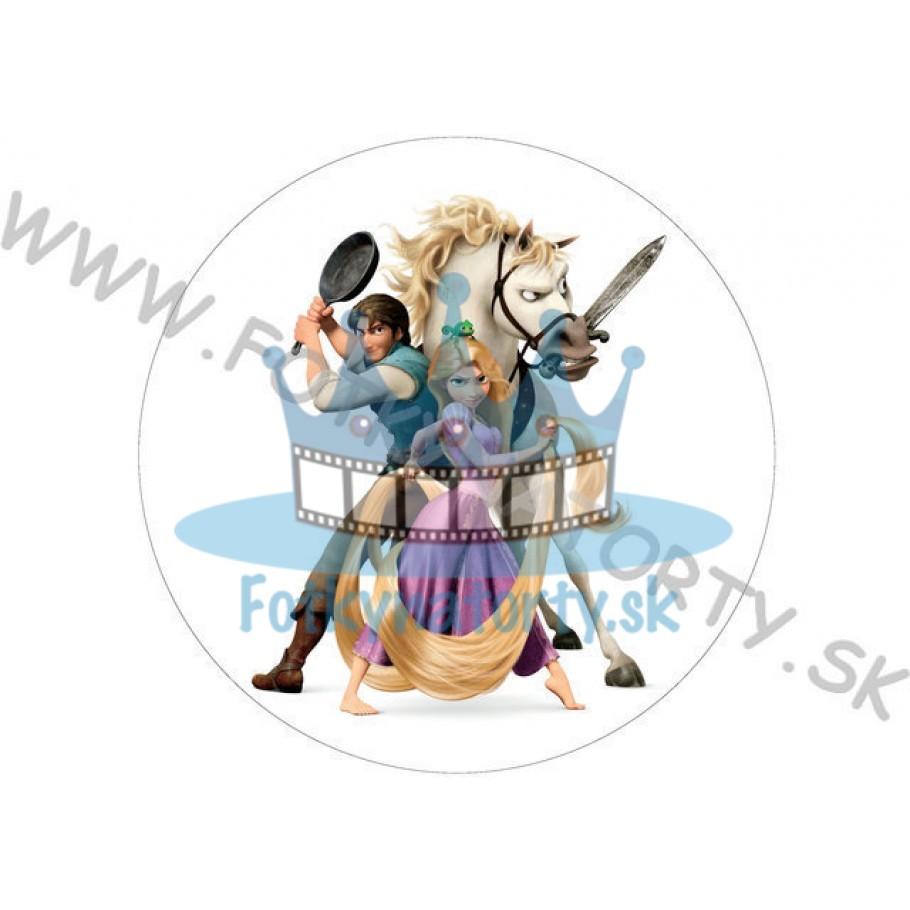 Na vlásku Rapunzel. Flynn a kôň- okrúhly jedlý obrázok/ oblátka na tortu