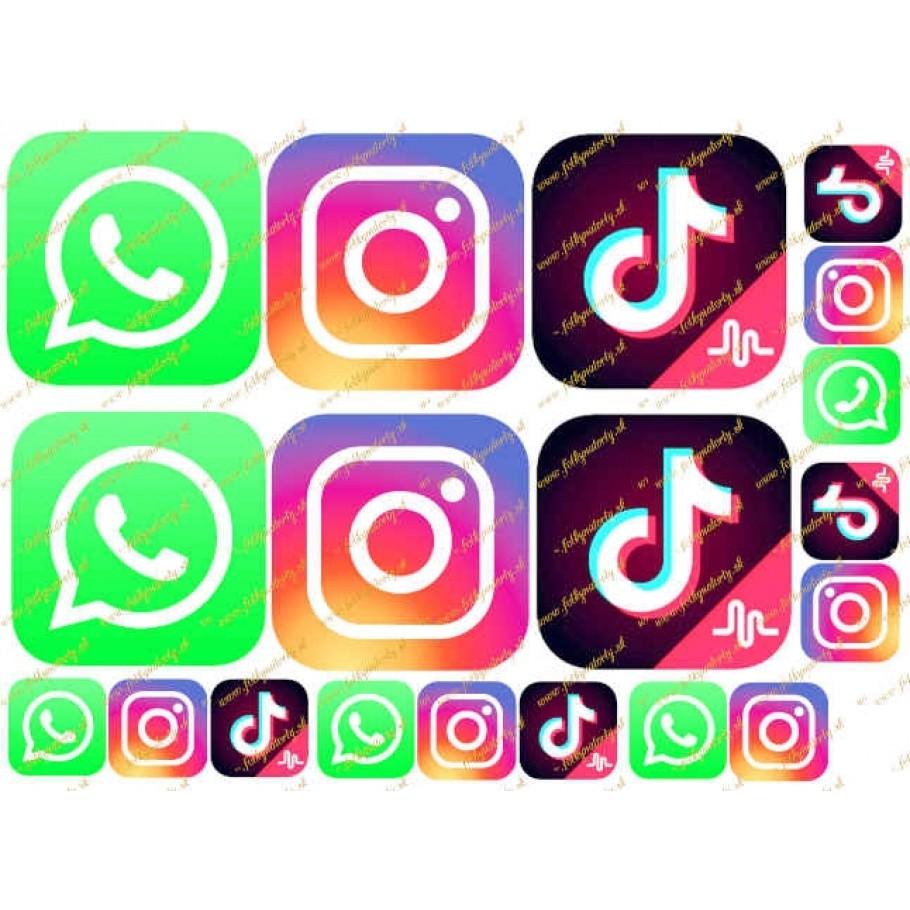 Jedlé vystrihovačky Tik tok, Instagram, WhatsApp