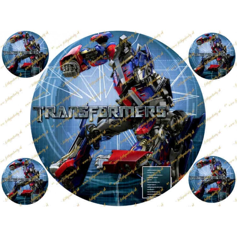 Jedlý okrúhly obrázok na tortu Transformers