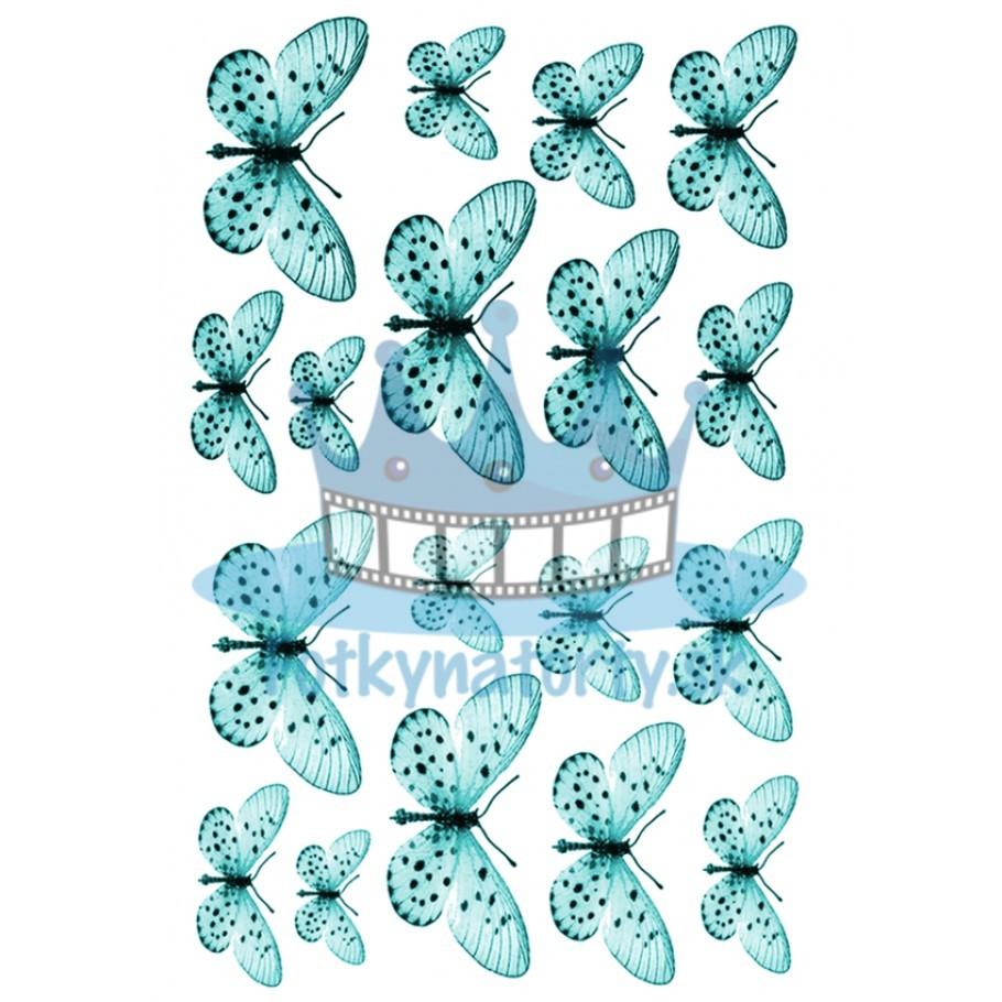 Jedlé obrázky motýle tyrkysové- dekorácie na muffiny, na tortu, zákusky- 18 ks