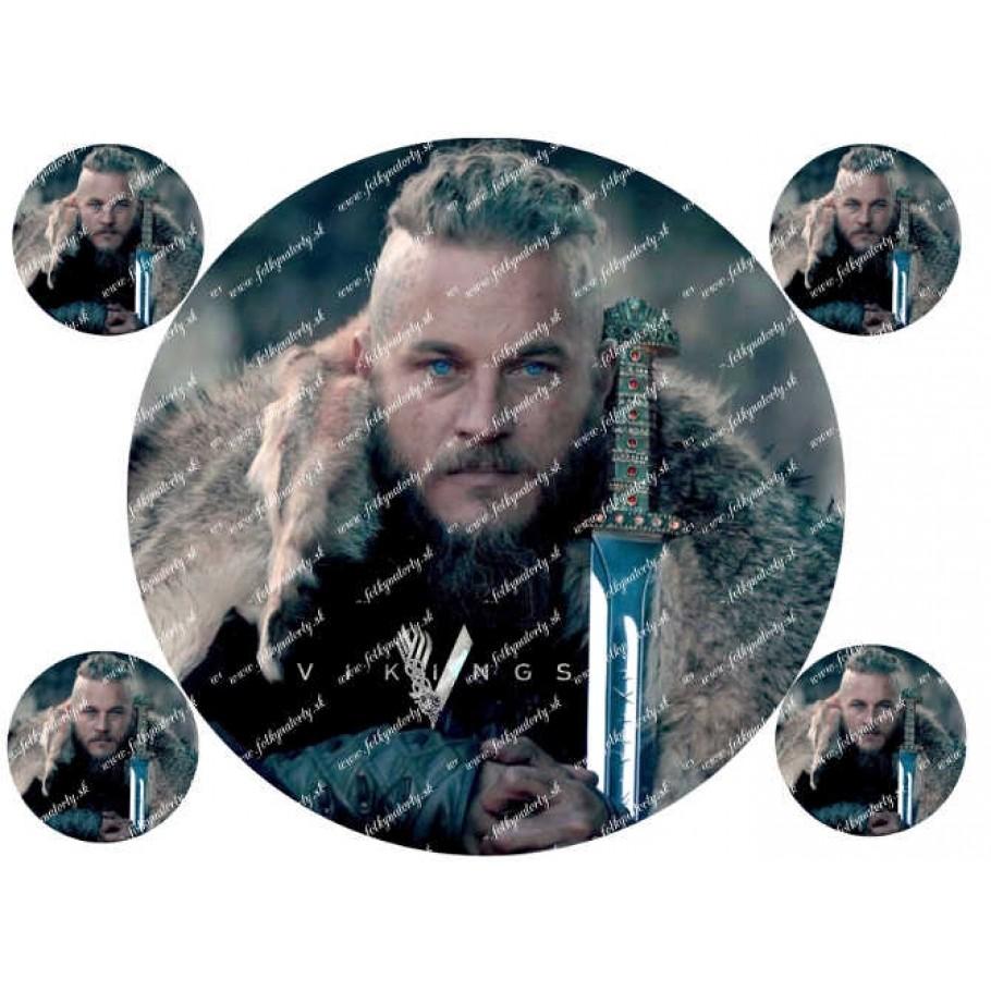 Vikingovia Ragnar Lothbrok jedlý obrázok - kruh s dekoráciami
