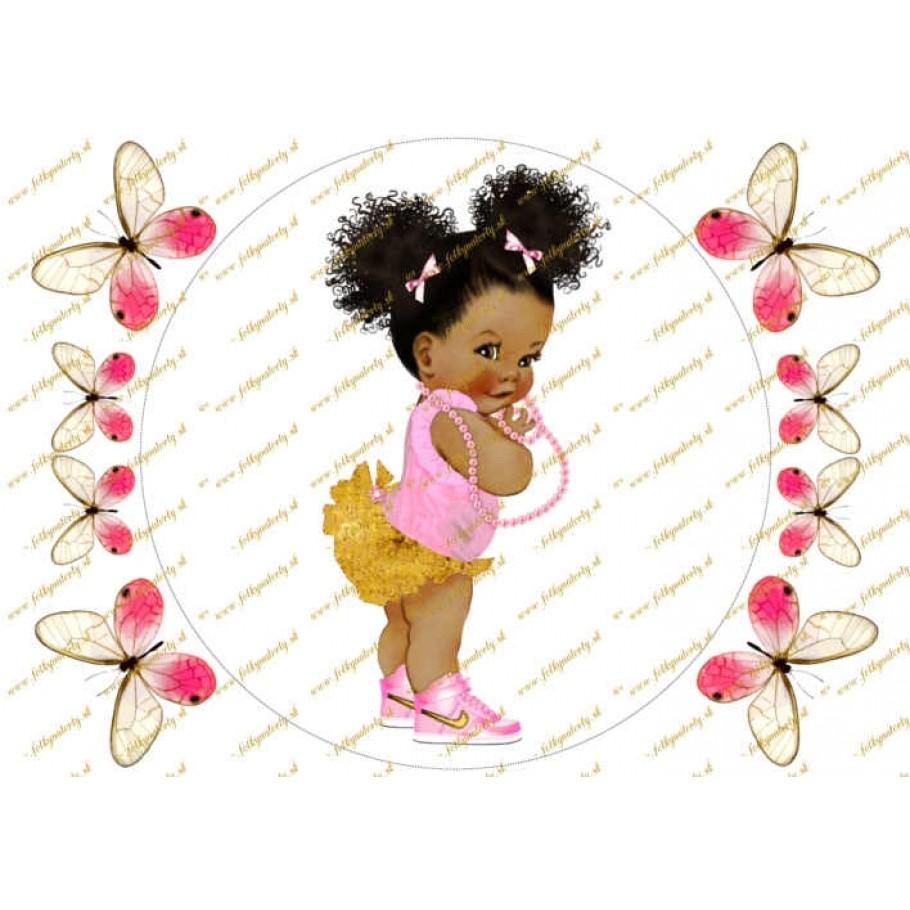 Bábätko černoška dekorácia na tortu - kruh