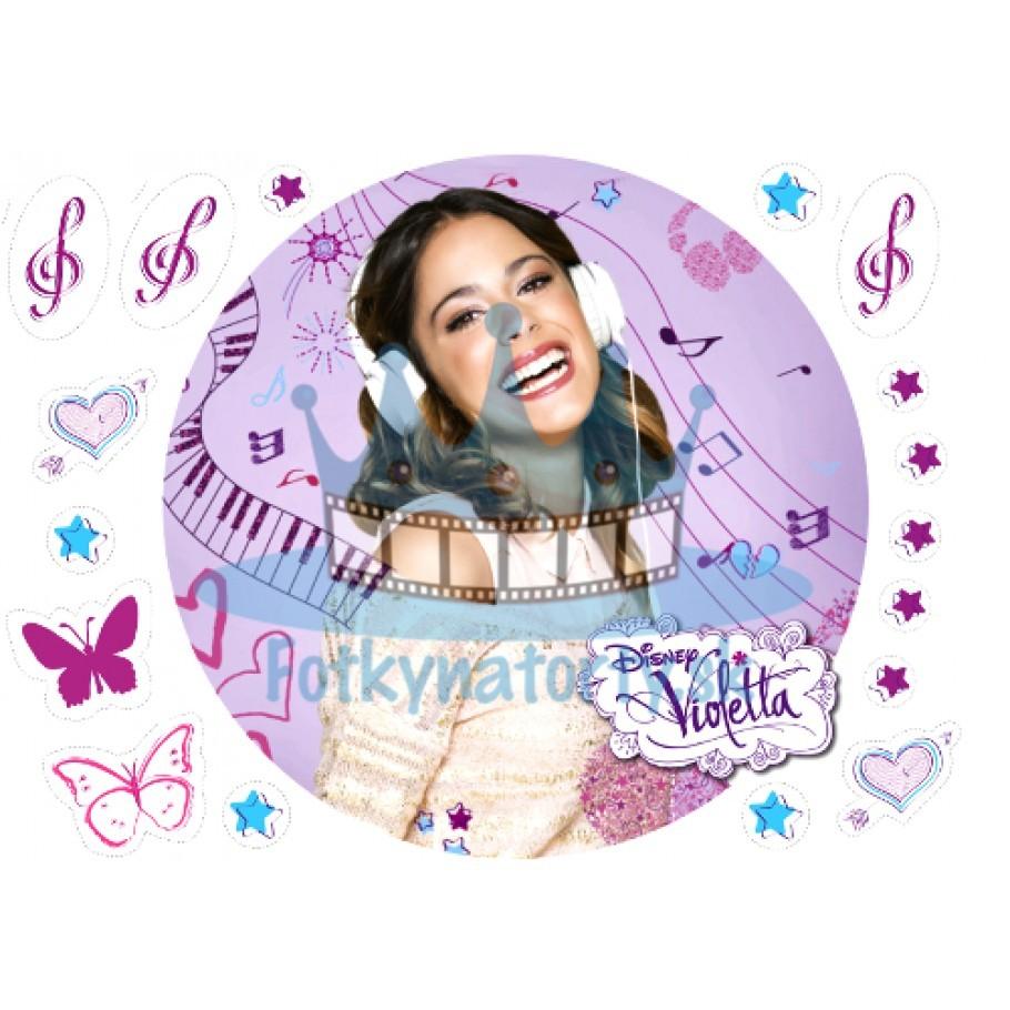 Violetta s notami - KRUH - jedlý obrázok/ oblátka na tortu s dekoráciami