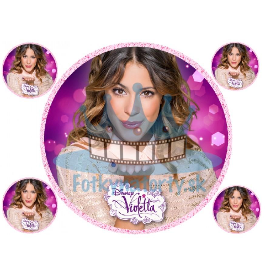 Violetta okrúhla s ružovým okrajom so srdiečkami - jedlý obrázok/ oblátka na tortu/ Fotky na torty
