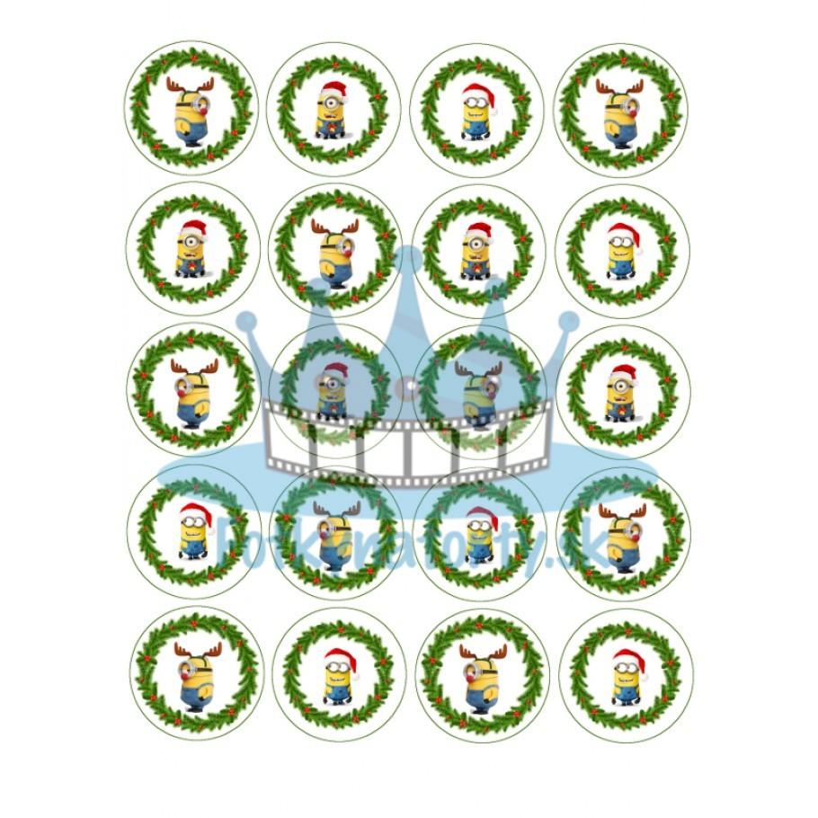 Vianoční Mimoni / Minions -20ks- jedlé dekorácie a  oblátky na muffiny, medovníčky a iné dobrôtky / na tortu / jedlý obrázok/ na muffin / Vianoce / Fotky na torty