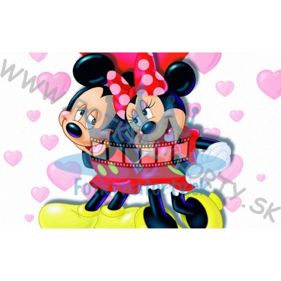Zamilovaná - MICKEY&MINNIE - jedlý obrázok/ oblátka na tortu