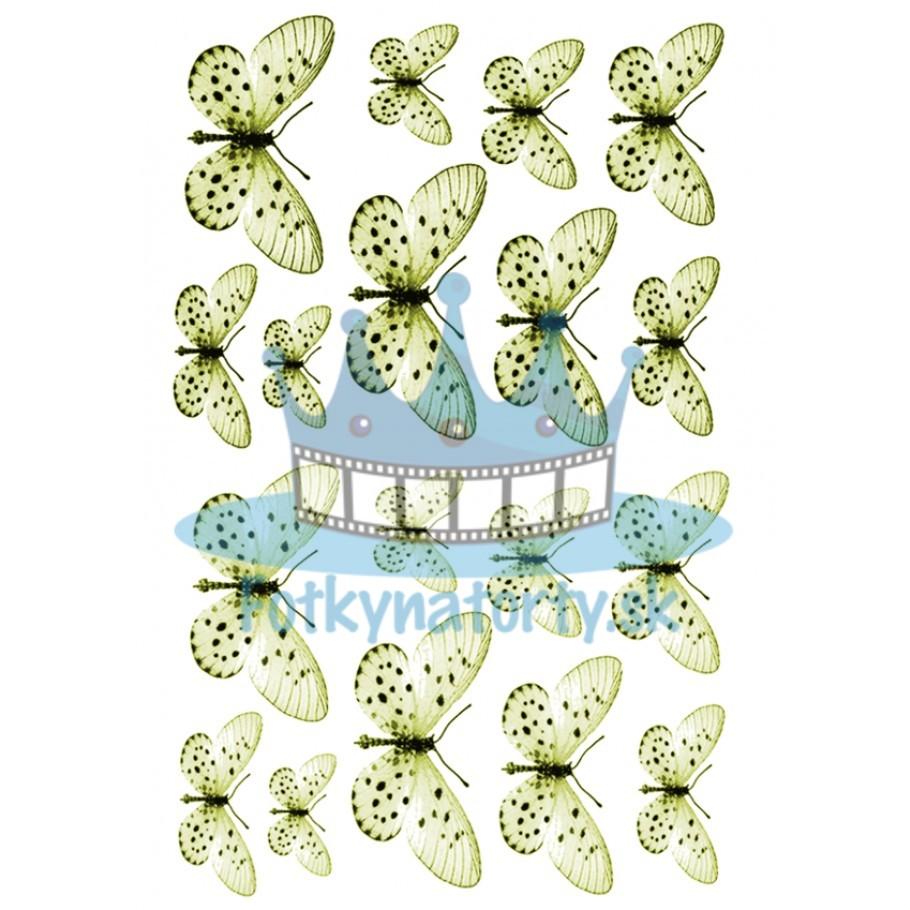 Jedlé obrázky motýle žlté- dekorácie na muffiny, na tortu, zákusky- 18 ks